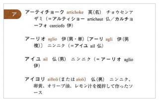 西洋料理単語帳(見本)